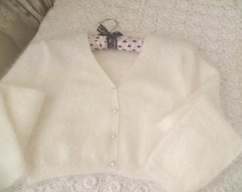 Angora v-neck buttoned cropped cardigan or bolero