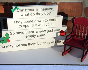 Christmas in heaven blocks, christmas memorial gift, freestanding blocks, lost loved ones quote, stairway to heaven, christmas decoration.
