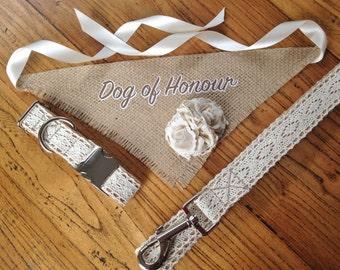 Beautiful Vintage Inspired Dog Wedding Attire Set. Adjustable Lace Dog Collar and Leash with Hessian Burlap Rose Bud Neck Scarf.
