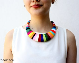 Statement Necklace Bib Colorful Necklace African Wrapped Necklace Tribal Fiber Necklace Gift for Her Textile Multicolor Contemporary Jewelry