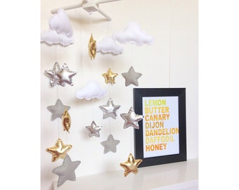 Gold, silver and grey clouds and stars baby crib mobile