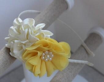 Ivory flower girl headbands, ivory and yellow headband, girls satin headband, toddler headband, kids hair accessory, ivory wedding headbands