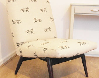 Parker Knoll easy chair mid century reupholstered cream fox vintage,retro,lounge,upholstered,linen,fabric