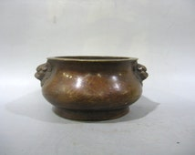 Unique Rare Beautiful Chinese Antique Da Qing Qian Long Old Copper Bronze 鼎 Censer With Two Lion Ear Pattern