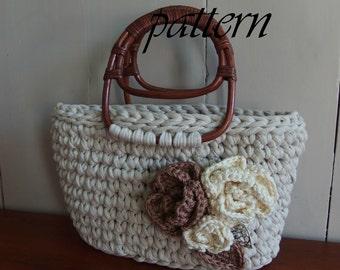 Digital crochet pattern two bags with crochet flowers/crochet pattern Zpagetti Zpagetti handbag/download Zpagetti pattern bag/xl hooks.