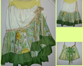 Bohemian Skirt, Shabby Chic Skirt, Hippie Skirt, Gypsy Skirt, Prairie, Boho, Repurposed Skirt with Matching Purse, Ready to Ship