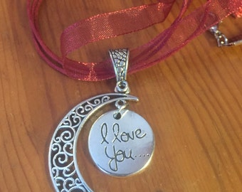 I love you silver moon pendant on red organza ribbon necklace