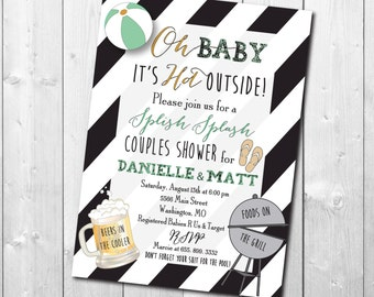 Couples Baby Shower Invitation printable/Digital File/pool, swim, coed shower, cookout, baby girl, baby boy/Wording & Colors can be changed