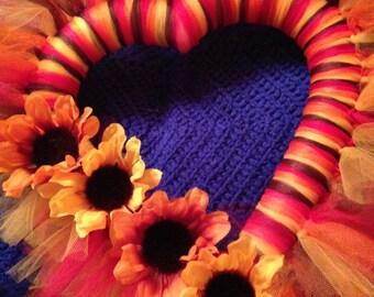 Heart shaped fall tulle wreath