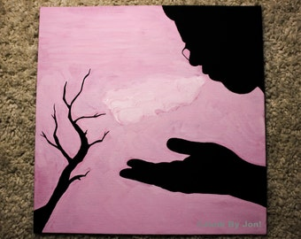 Pollution - Silhouette Painting - Silhouette - Original Painting - 12x12 Painting - Nature Painting - Nature Wall Art - Silhouette Art