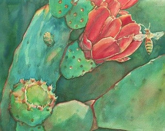 Red Cactus Blossom and Bee Art Print/ Southwest Desert Limited Edition Giclee