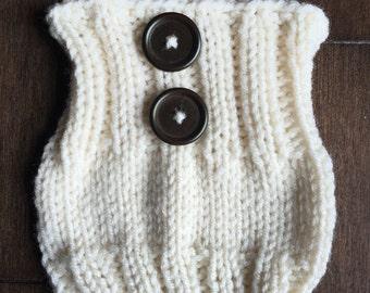 Ivory Boot Cuffs with Dark Chestnut Buttons