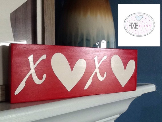 Hand Painted Xoxo Wood Sign Valentines By Pixiedustlouisville