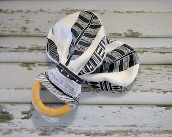 Black Feathers on white Organic Maple Wooden Teether