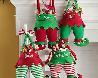 Christmas Elf Pants Stocking, Jingle Bell Elf Stockings, Christmas Stockings, Santa Helper Stocking