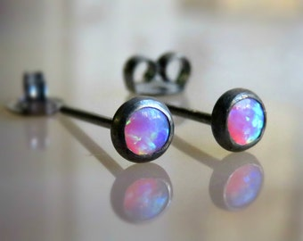 Opal post earrings - opal ear jewelry - opal ear studs - pink opal stud earrings