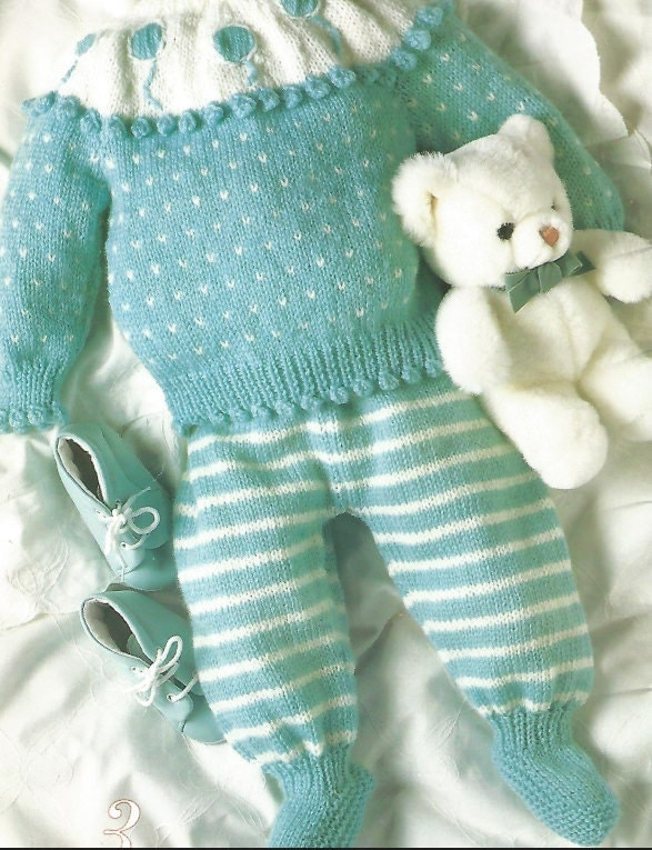 Knit Baby pattern for sweater and leggings Retro Boy or Girl