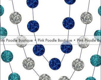 GLITTER Sparkle Circle CONFETTI GARLAND -- choose the length & colors  --  Hanukkah/Winter Wonderland
