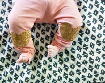 Yoga gold heart leggings leggings // baby girl leggings // baby leggings // newborn leggings