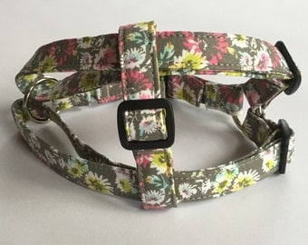 Adjustable Multi-Colored Flower Print Step-In Harness