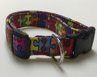 Adjustable Autism Speaks Print Dog Collar