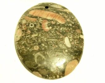 Ocean Jasper Agate Oval Focal Bead 49mm x 38mm x 6mm F60263