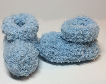Ultra Soft Hand Knit Baby Booties - Blue