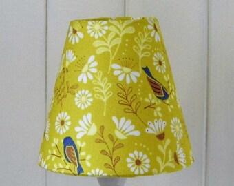 Yellow Hedgerow Bird small lampshade