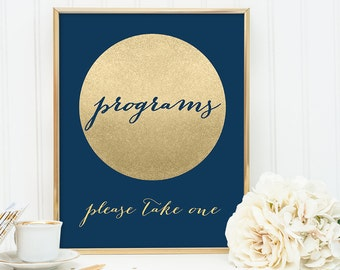 Program Sign DIY / Wedding Program / Navy and Gold Wedding Sign / Metallic Gold Sparkle Circle / Champagne Gold ▷ Instant Download JPEG