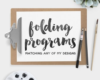 Custom 4-Panel Folding Wedding Program Printable PDF ▷ Matching any of the collections in my shop