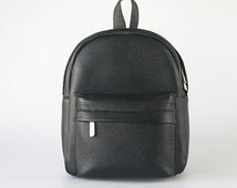 Black Leather Backpack, a Simple Pebble Leather Knapsack SHIPPING IN 3 DAYS