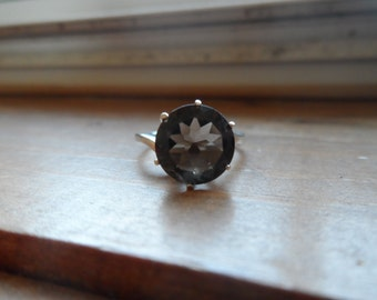 large smoky quartz ring in stering silver