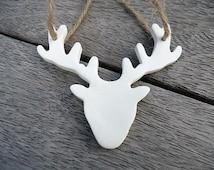 Clay Deer Antler Ornament - Set of 3