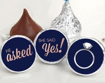108 Hershey Kiss® Stickers - He Asked She Said Yes Navy Kiss Seals - Candy Labels - Wedding Favors - Hershey® Kiss Seals