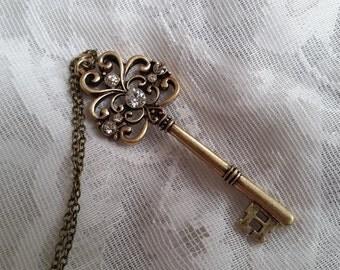 Skeleton key charm necklace