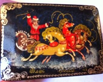 Vintage Christmas Russian Lacquerware Box