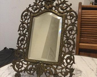 Antique Brass Beveled Mirror