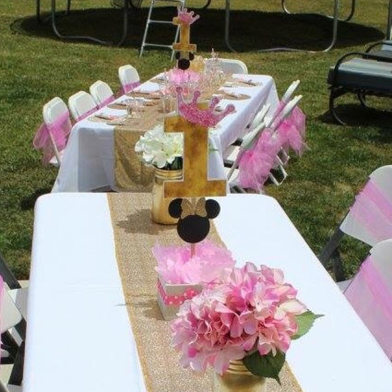 Minnie Mouse Centerpiece Pink And Gold Birthday