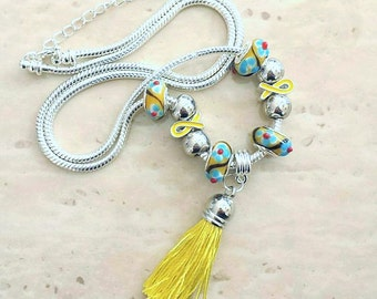 Yellow Ribbon Tassel Charm Lampwork Beads Silver Plated Necklace 23-25 Inches