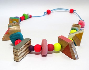 Colourful  Handmade Whimsical Necklace- Painted Wooden and Polymer Clay Beads