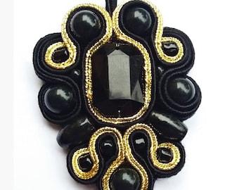 Black gold soutache pendant