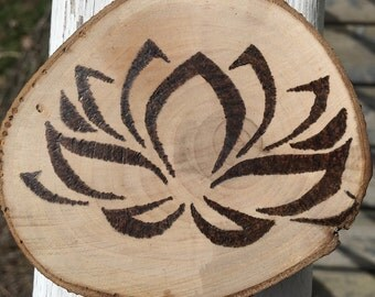 Wood Burned Flower sign, wall art, pyrography, flower ornament, handmade christmas gift