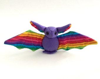 Small purple bat with rainbow print soft stuffed plush kids toy animal handmade-made to order