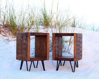 Pair of nightstands, furniture, table, bedside table, night stand, end table, rustic, living room, wood, bedroom furniture, side table