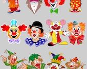 Circus. Clown. Clipart. Digital illustration. Scrapbook. Instant download. 12 PNG files.
