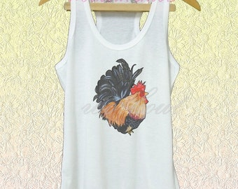 Bantam tank rooster shirt white tank/grey dress/ v neck shirts XS S M L XL women tops