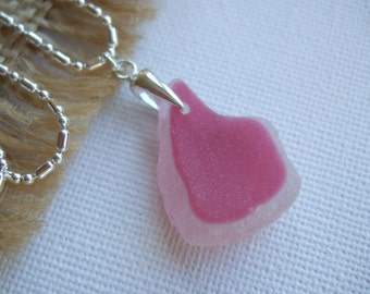 Pink and white sea glass pendant on sterling bail, pink flash sea glass necklace sterling silver, breast cancer awareness, pink pendant gift