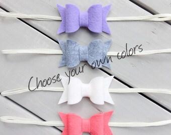 Felt Bow Headband Set, Baby Headband, Choose your color, Baby Bow Headband, Felt Bow Headband, Bow headband set, Chunky Bow Style