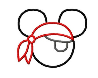 Character Mouse Inspired Pirate Eye Patch and Bandana Embroidery Applique Design