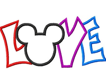 Mister Mouse Inspired Love Valentines Embroidery Applique Design
